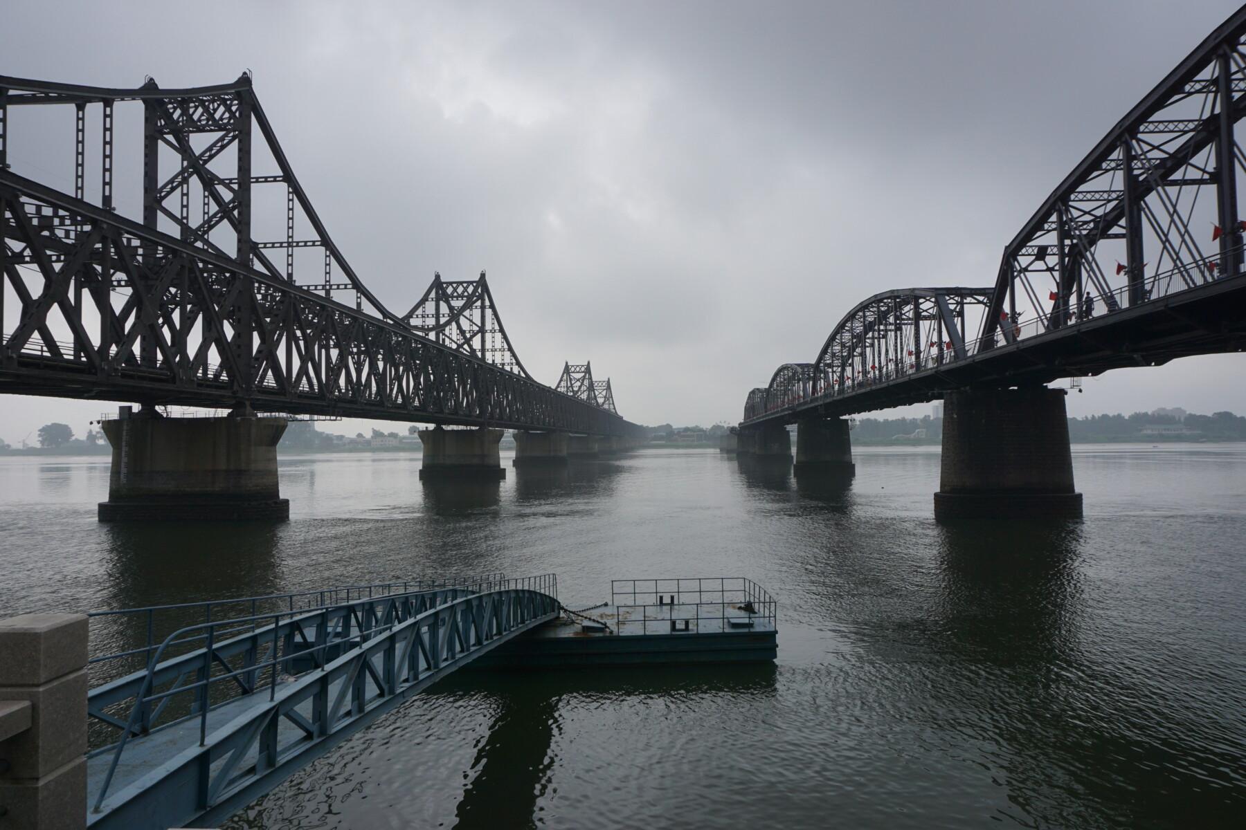Broken bridge on the Yalu River, the border between China and North Korea