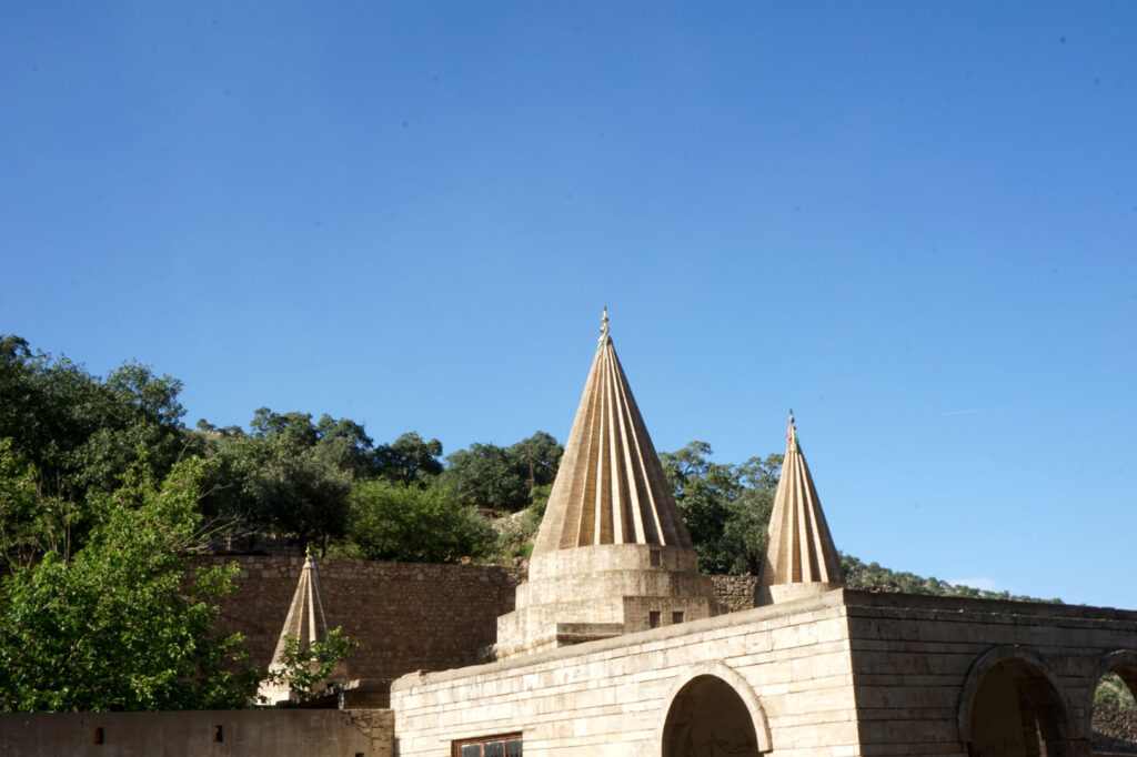 Towers in Lalesh, the town of the Yazedi's in northern Iraq